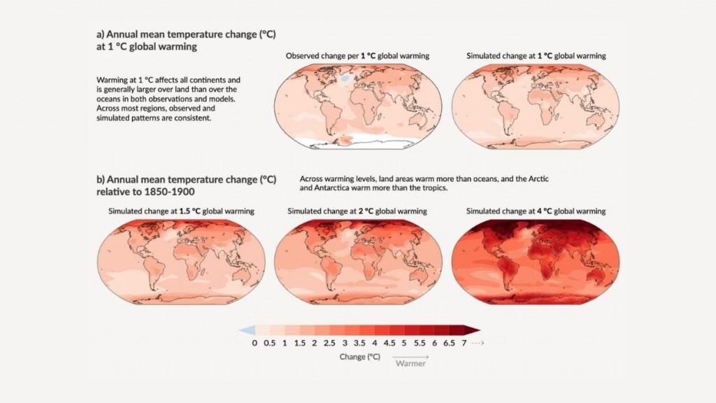 Changes in annual mean surface temperature, precipitation, and soil moisture.